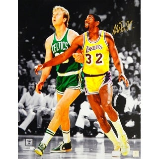 Magic Johnson Los Angeles Lakers NBA Action With Larry Bird Spotlight 16x20 Photo