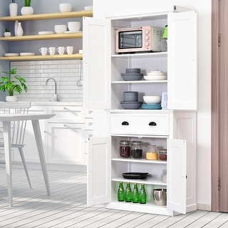 Link to HOMCOM Traditional Freestanding Kitchen Pantry Cabinet Cupboard with Doors and 3 Adjustable Shelves, White Similar Items in Dining Room & Bar Furniture