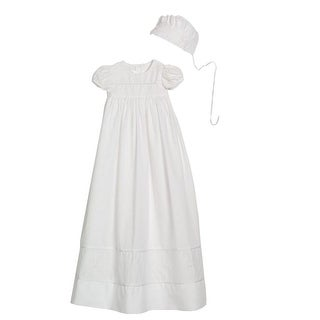 Baby Girls White Cotton Hand Embroidered Bonnet Christening Dress Gown