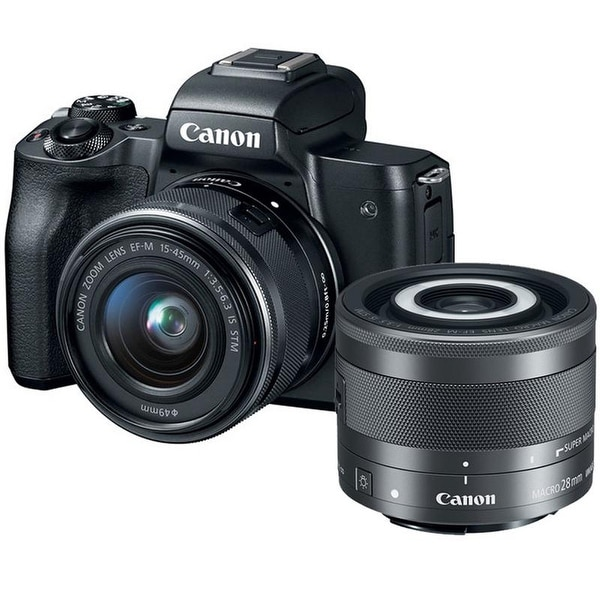 Canon EOS M50 Mirrorless Digital Camera with 15-45mm Lens (Black) + Canon EF-M 28mm f/3.5 Macro IS STM Lens. Opens flyout.