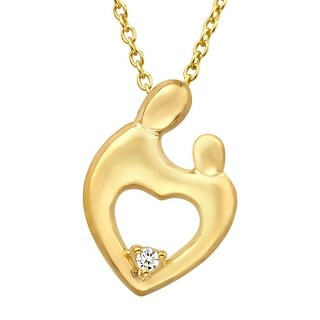 Mother & Child Heart Pendant with Cubic Zirconia in 14K Gold Plate
