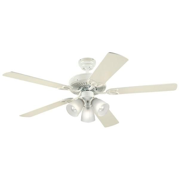 "Westinghouse 7862765 Vintage 52"" 5 Blade Hanging Indoor Ceiling Fan w/ Reversible Motor, Blades, Light Kit, & Down Rod Included"
