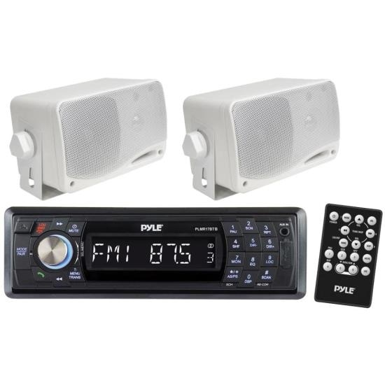 "In-Dash Marine Bluetooth Detachable Face Receiver USB/SD Inputs, Remote + 2x 3.5"" 200W Speakers"