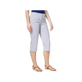 Karen Scott Womens Capri Pants Striped Tummy Control