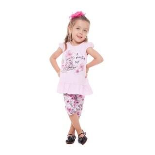 Toddler Girl Outfit Graphic Shirt and Floral Capri Pant Set Pulla Bulla 1-3 Year