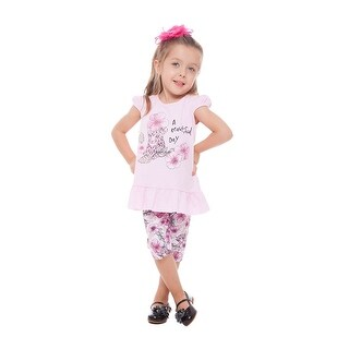 Toddler Girl Outfit Graphic Shirt and Floral Capri Pant Set Pulla Bulla 1-3 Year (2 options available)