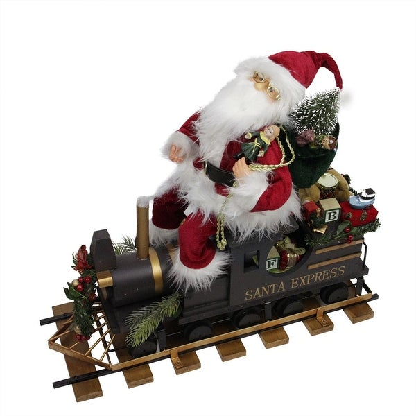 "22"" Statuesque Santa Express Train Christmas Figure on Wooden Railroad Track Base"