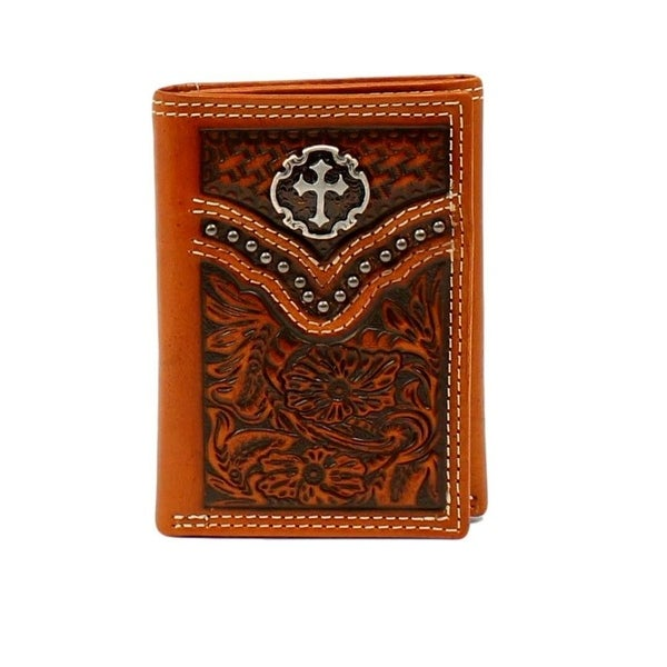 Ariat Western Wallet Mens Trifold Leather Floral Embossed Tan