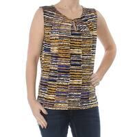 KASPER Womens Gold Printed Sleeveless Keyhole Sleeveless Wear To Work Top  Size: S