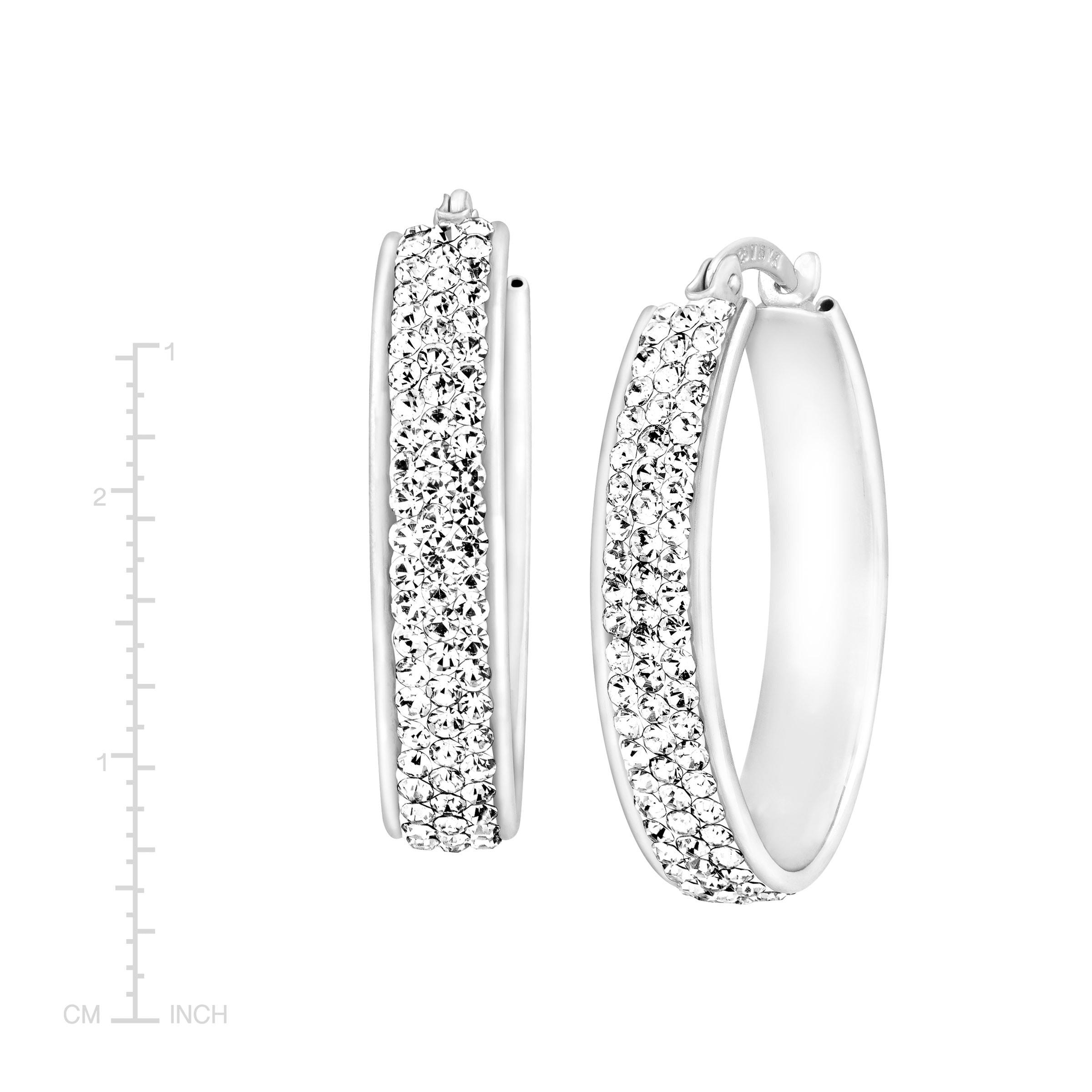 Ss Sm In//Outside All White Crystal Hoops Hoop Earrings