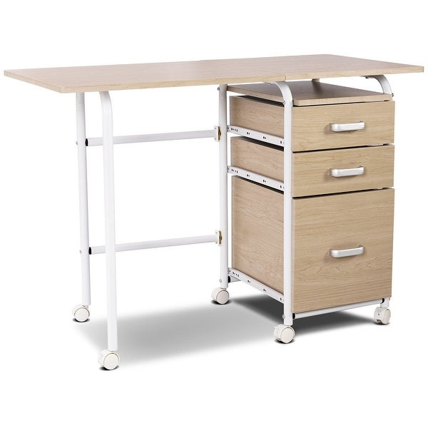 Genial Shop Folding Computer Laptop Desk Wheeled Home Office Furniture Natural    Free Shipping Today   Overstock   28423290