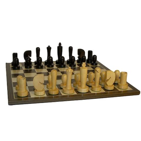 Black Berliner Chess Set With Ebony Veneer Board - 2.2 X 19.75 X 19.75 inches
