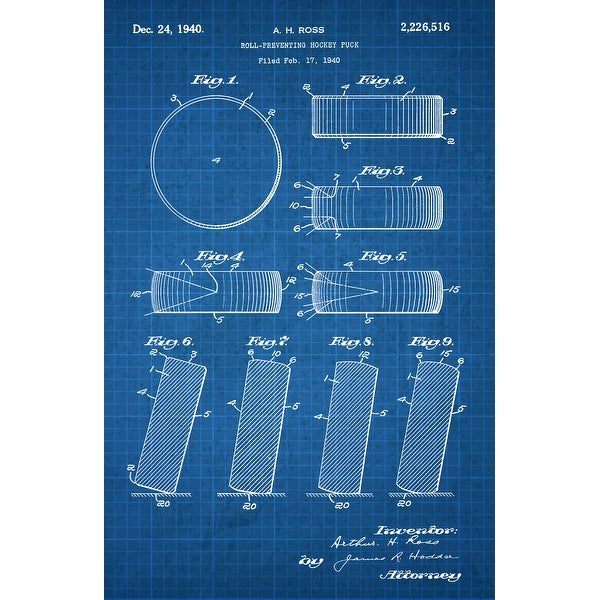 Hockey Puck Patent Poster (White on Blue Graph) - Sports Patents - 24x16 Poster