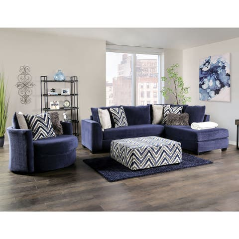 Furniture of America Slaren Transitional Navy Sectional and Chair Set