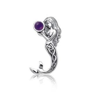 Bling Jewelry .925 Silver Celtic Knot Amethyst Mermaid Pendant - Purple