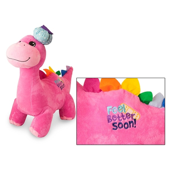 Feel Better Soon Pink 18 inch Green Plush Dinosaur - Delia