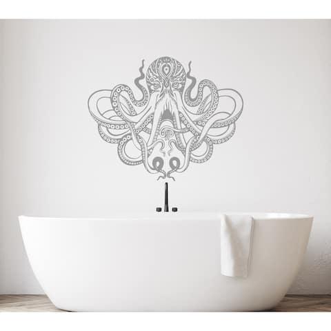 Boho Octopus Wall Decal. Kraken Tentacles Wall Decor. Nautical Bedroom. Wall Art.