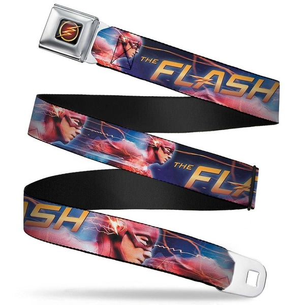 Flash Logo3 Full Color Black Gold Red The Flash Running Pose Blues Gold Seatbelt Belt