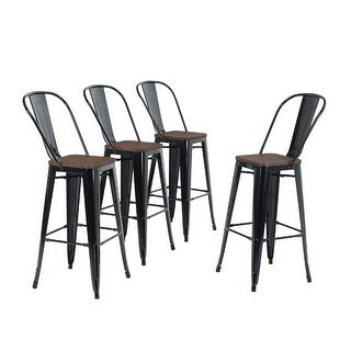 Link to ALPHA HOME 30'' High Back Bar Stools with Wood Seat,Vintage Metal Dining Chairs Stackable Industrial Counter Stool Similar Items in Dining Room & Bar Furniture