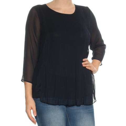 TOMMY HILFIGER Navy Pleated 3/4 Sleeve Jewel Neck Top Size: S