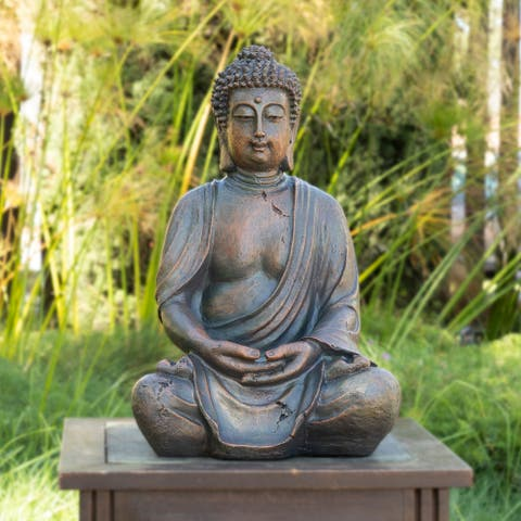Alpine Corporation Meditating Buddha Outdoor Statue, 15-inches
