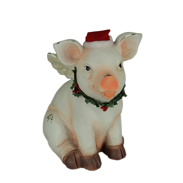 White Christmas Angel Pig Heavenly Holly Hog with Wings Statue - 7.5 X 6.5 X 4.75 inches