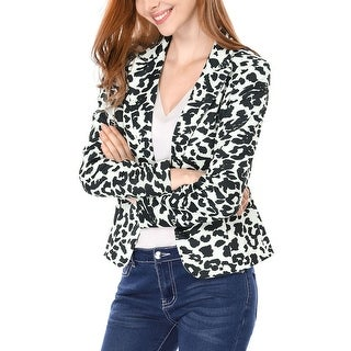 Allegra K Woman Peaked Lapel One Button Closed Leopard Prints Blazer