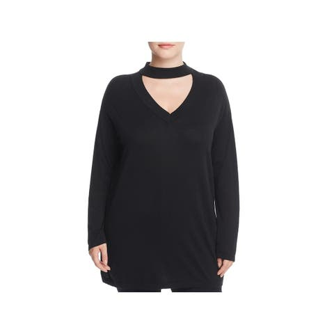 Vince Camuto Womens Plus Choker Sweater V-Neck Long Sleeves