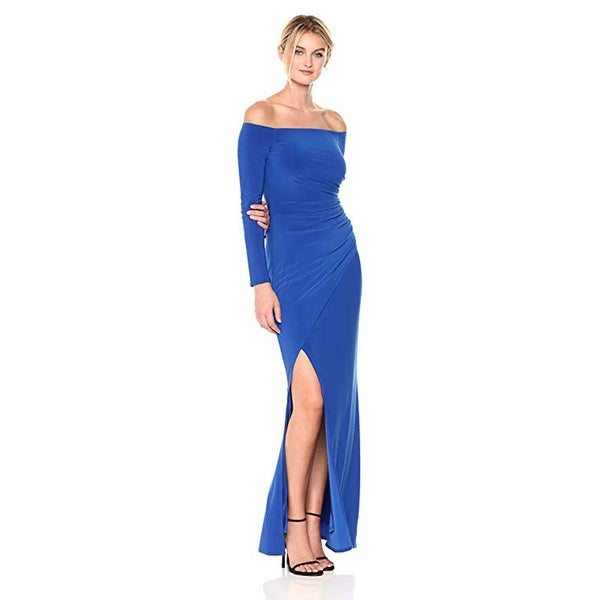 a64244b7454 Shop Laundry by Shelli Segal Off The Shoulder Matte Jersey Gown, Vibrant  Blue, 2 - Free Shipping On Orders Over $45 - Overstock - 28013114