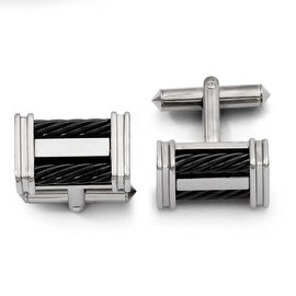Chisel Titanium Black IP Wire Cuff Links