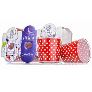 Link to STP-Goods Red Polka Dot Lowball Set of 6 Glasses Similar Items in Glasses & Barware