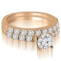 1.45 cttw. 14K Rose Gold Round Cut Diamond Bridal Set