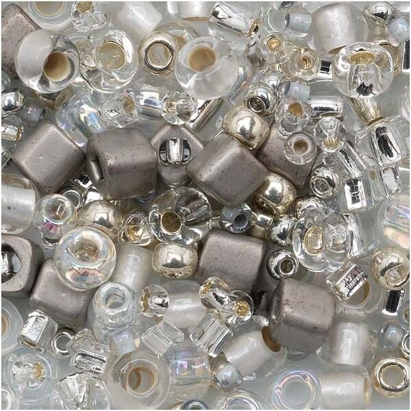Toho Multi-Shape Glass Beads 'Junpaku' Crystal/Silver Color Mix 8 Gram Tube