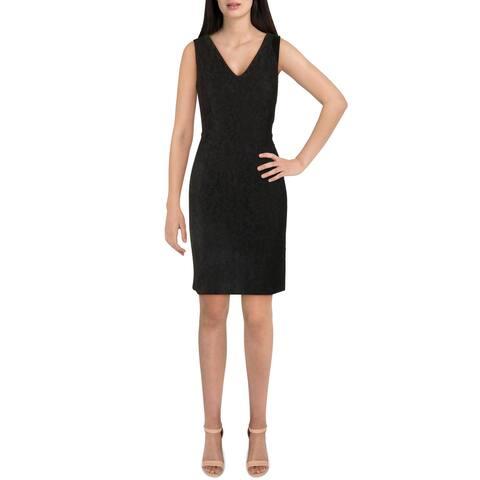 Lauren Ralph Lauren Womens Sheath Dress Lace V-Neck - Black