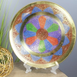 Link to Natural Geo Abstract Multicolored Decorative Brass Accent Plate Similar Items in Decorative Accessories
