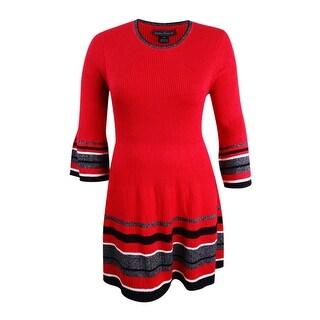Jessica Howard Women's Petite Bell-Sleeve Sweater Dress - Red