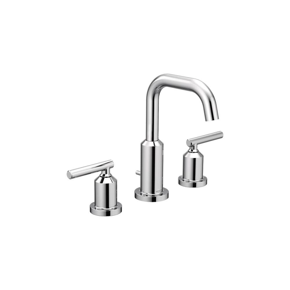 Moen T6142 Gibson Widespread Bathroom Sink Faucet   Includes Pop Up Drain  Trim   Chrome