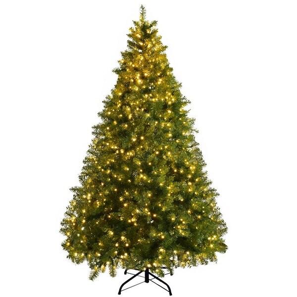 Lead Free Christmas Trees: Shop Gymax Pre-Lit 7' Artificial PVC Christmas Tree Hinged