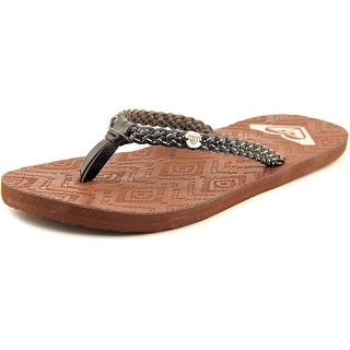 Roxy Grenada Women Open Toe Leather Black Flip Flop Sandal