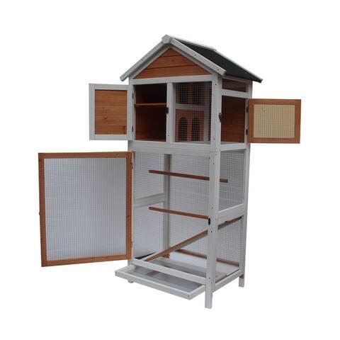 """64"""" Wooden Pet Supply Bird Cage White & Dark Brown"""