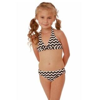 Kate Mack Little Girls Black White Chevron Stripe 2 Pc Bikini Swimsuit 4