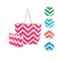 Swan Comfort Striped Canvas Chevron Shoulder Beach Tote Bag with Pouch - Medium