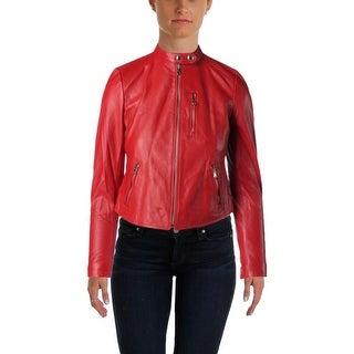 Lauren Ralph Lauren Womens Motorcycle Jacket Leather Long Sleeves