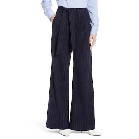 Halogen Womens Pants Blue Size 8 Wide Leg Crepe Pinstriped Stretch