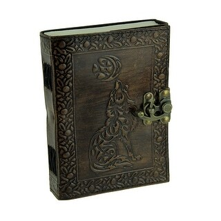 Leather Bound Tribal Wolf Embossed Locking Journal
