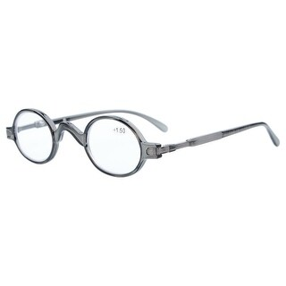 Eyekepper Readers Spring Temple Vintage Mini Small Oval Round Reading Glasses Grey +0.75