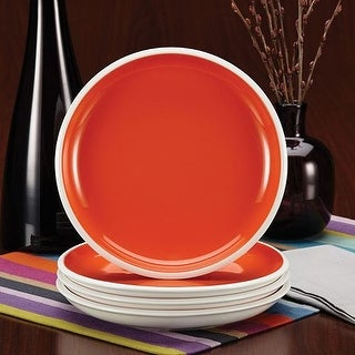 Rachael Ray Dinnerware Rise Collection 4-Piece Stoneware Salad Plate Set Orange