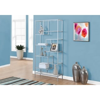 Monarch 7158 Silver Metal With Tempered Glass 72nch Bookcase