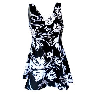 V-Neck Swimdress with Tank Style Straps in Black/White Floral Print