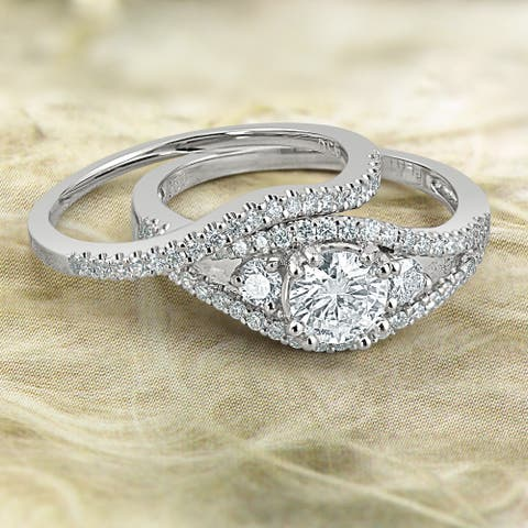 Auriya Platinum 1 1/2ctw 3-Stone Diamond Engagement Ring Set Certified